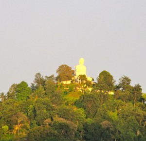Kandy Buddha statue at sunrise